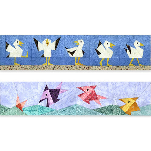 Parading Seagulls & Happy Fish Paper-pieced Quilt Pattern by Paper Panache