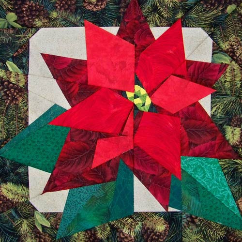 Poinsettia paper-pieced quilt pattern now available in PDF download format.