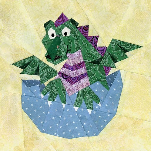 Baby Dragon Block Paper-pieced Quilt Pattern by Paper Panache