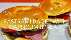 PASTRAMI BAGEL WITH CAPSICUM SPREAD
