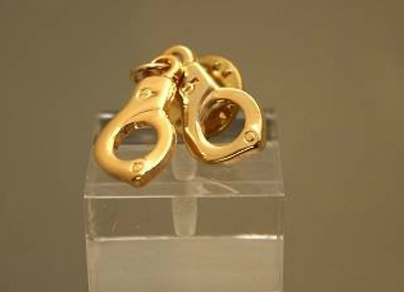 Gold Handcuffs Tie Pin