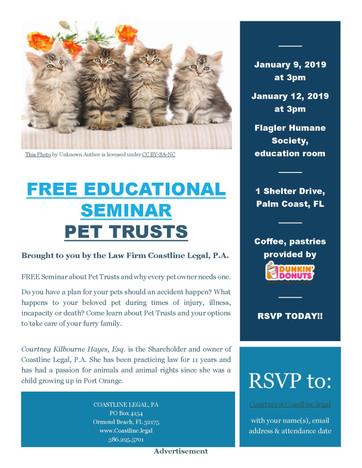 FREE Educational Seminar on Pet Trusts