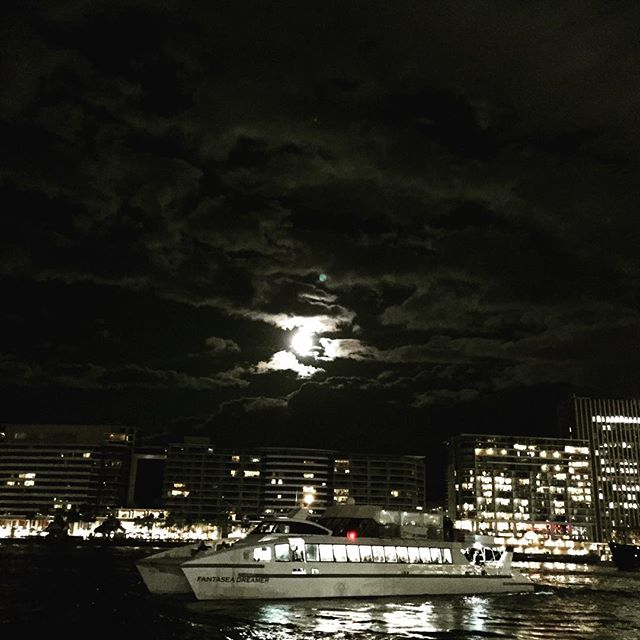 #Sydney #harbour #moon #full moon #ocean #sea #warf #ferry #dark #night #tourism #circular quy #city