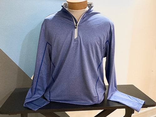 Blue Quarter-Zip Collar Pull Over