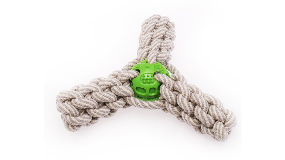Cotton rope with one rubber ball