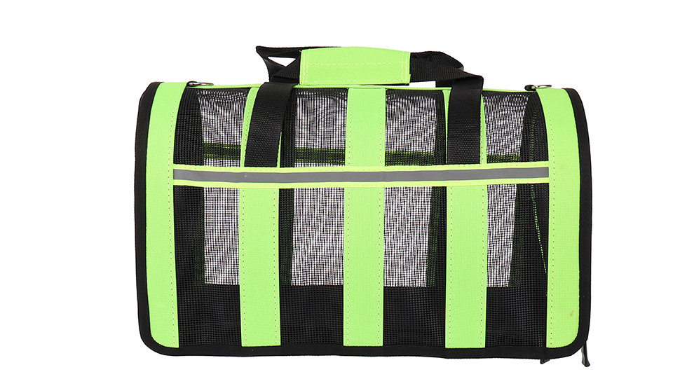 Foldable pet carrier with plastic mesh