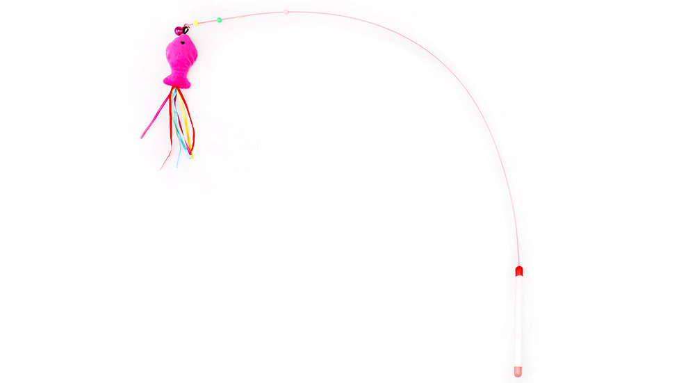 Cat teaser toy with wire pole and plastic handle