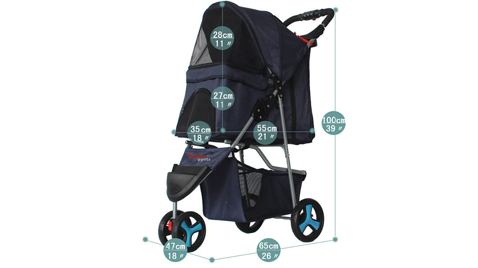 Three-wheeled pet stroller