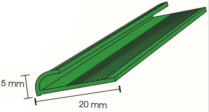 Perfil porta chapa para placas de platico