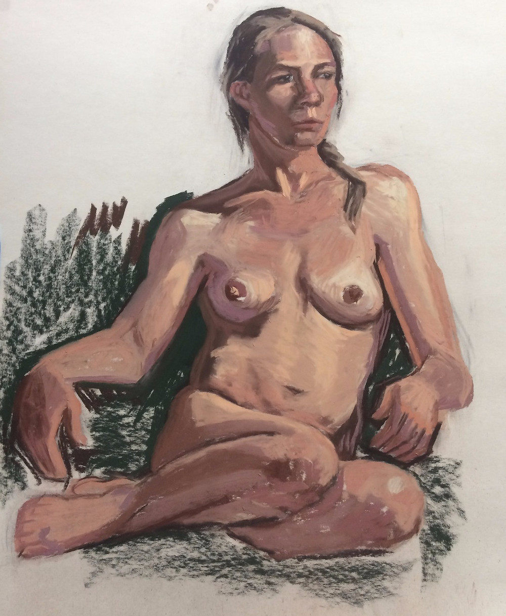 Original Pastel Painting of a Seated Nude Woman