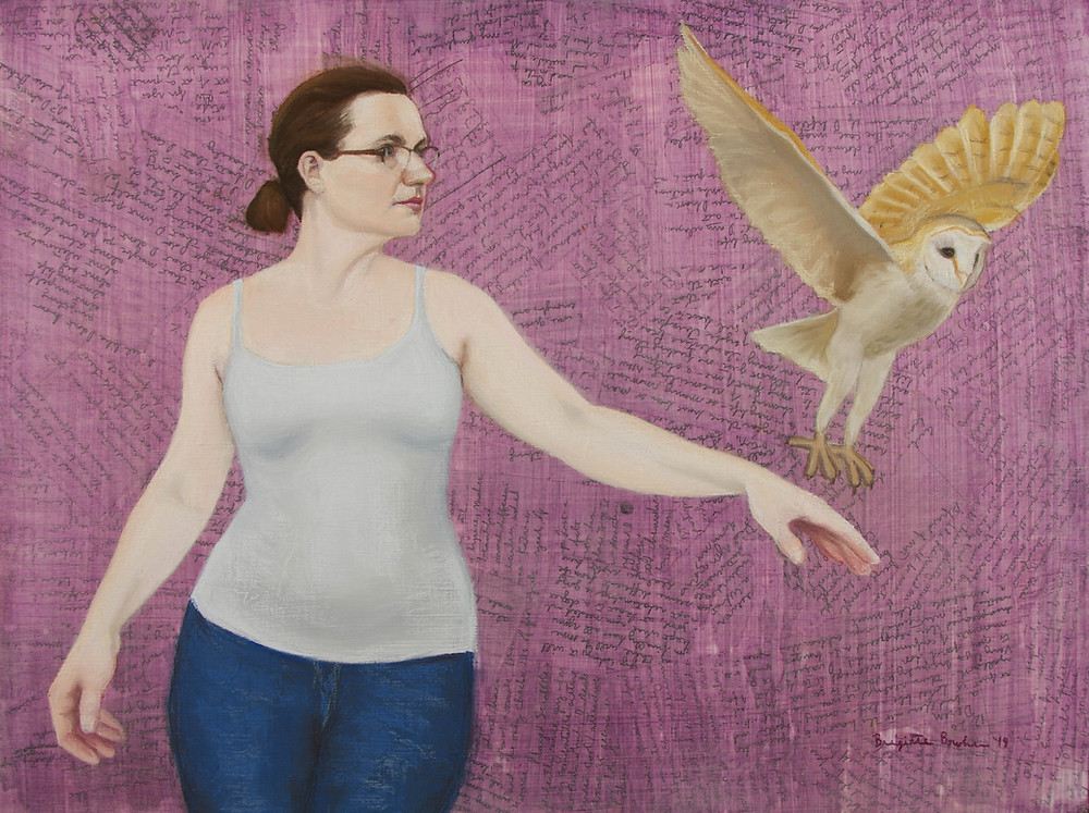 """Flight,"" a painting of a young woman with an owl flying from her hand."