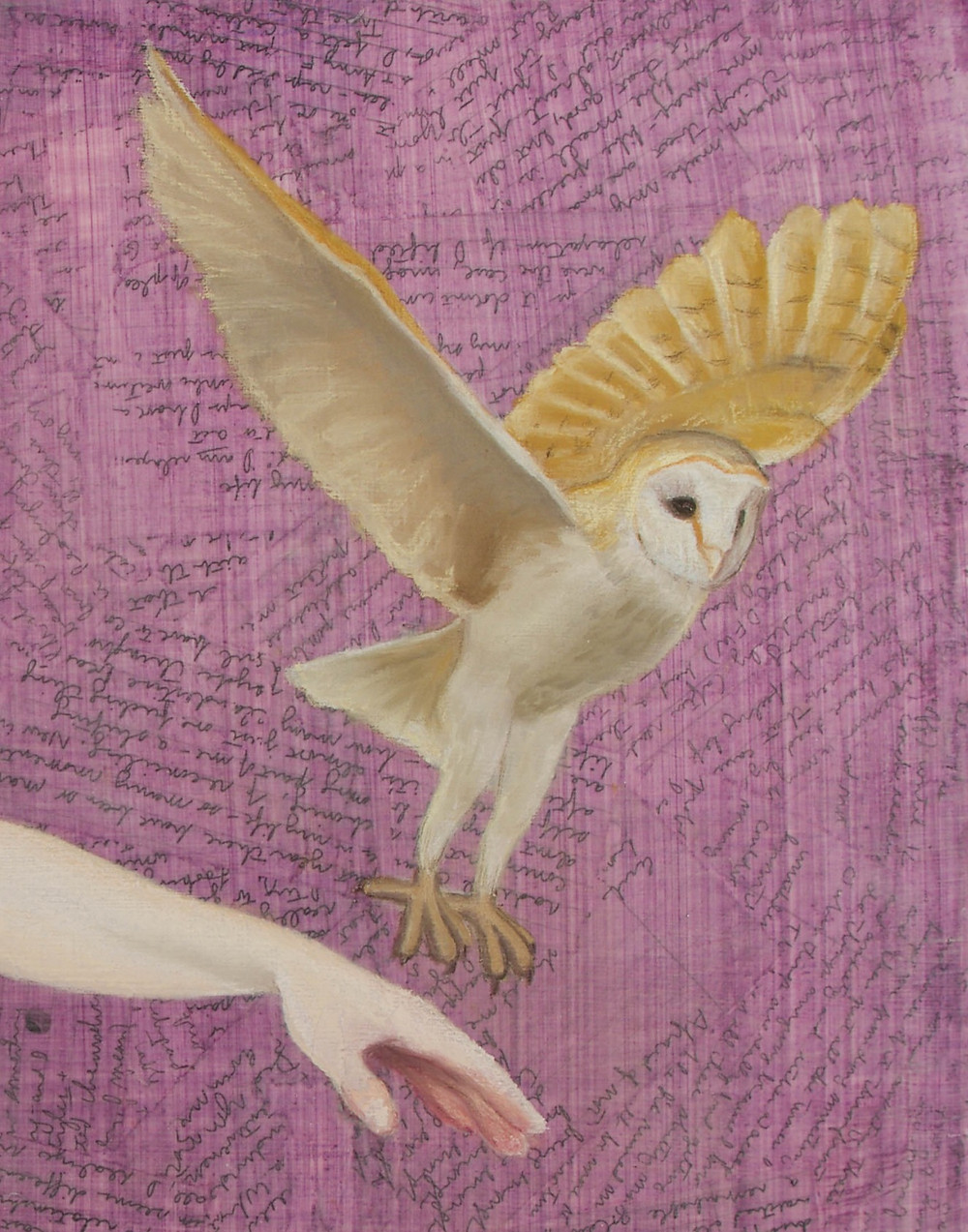 "Detail of ""Flight,"" showing a close-up of the owl in the painting."