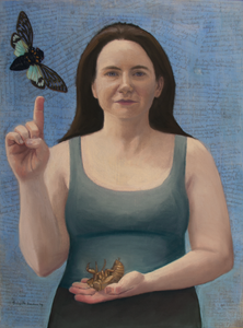 A painting of a young woman with a cicada.