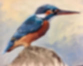 A kingfisher painted in soft pastels_
