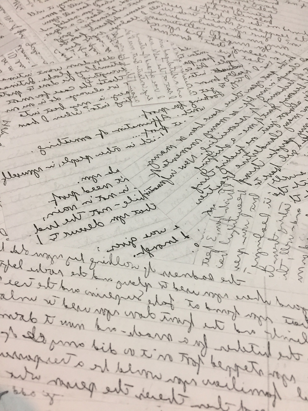 Close-up of pages of handwritten text.