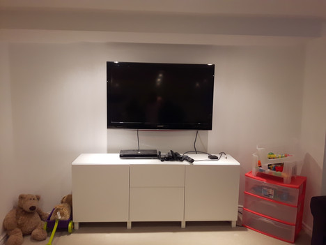 TV wall mount installation and IKEA TV unit assembly