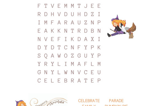 Thanksgiving Kids Activity: Wickity Stitch Coloring Sheets and Word Search!