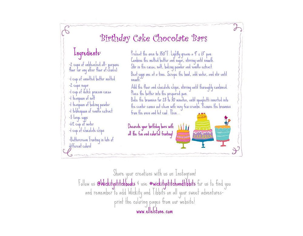 Wickity Stitch Birthday Cake Chocolate Bars Recipes