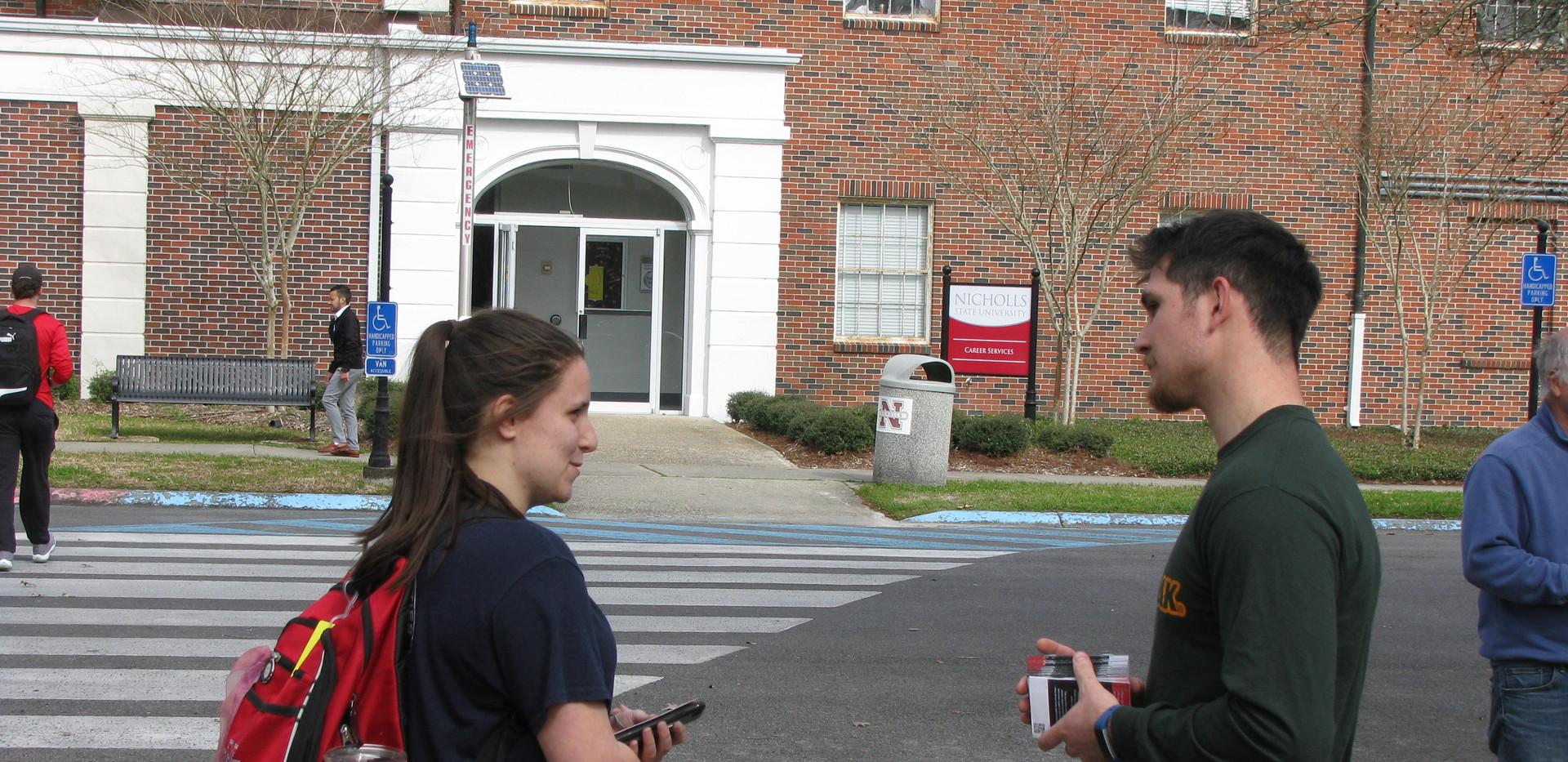 33. Seth sharing the gospel at Nicholls