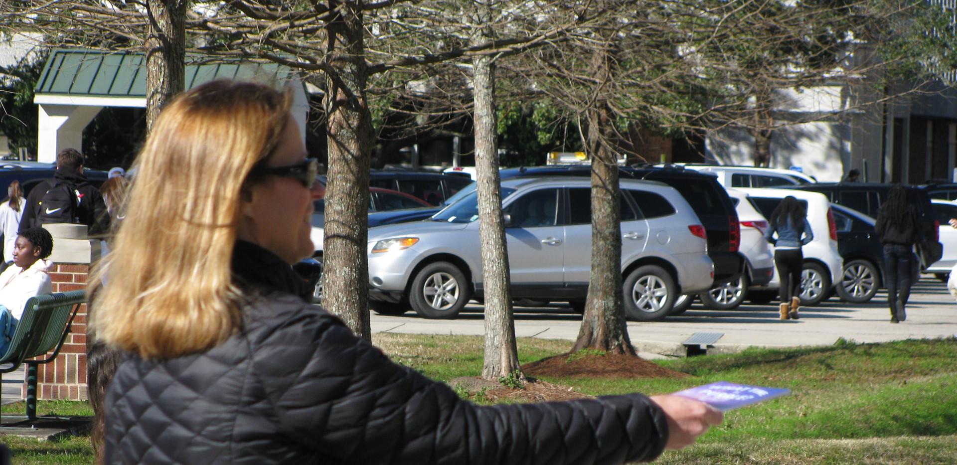 16. Kathy Grantham distributing What Tim