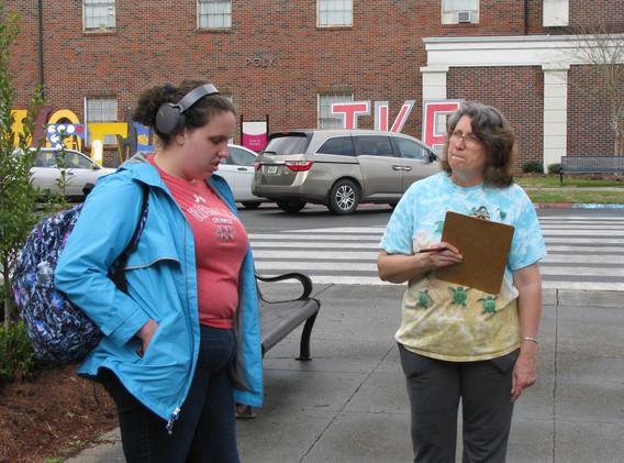 16. Maureen sharing the gospel at NSU -