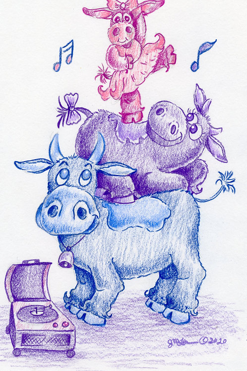 """Bull and Cow Family """"We Support You"""""""
