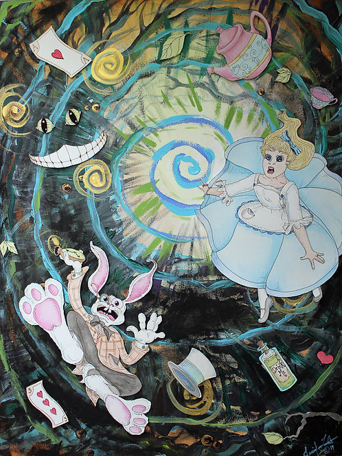 Alice and the Rabbit Falling Down the Hole