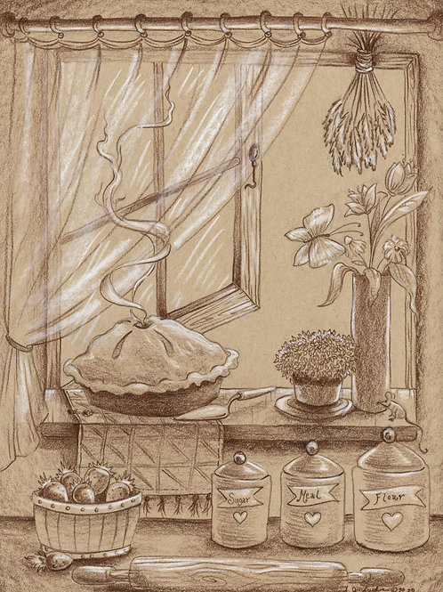 Cooling Aunt Mae's Pie (Original or Fine Art Print)