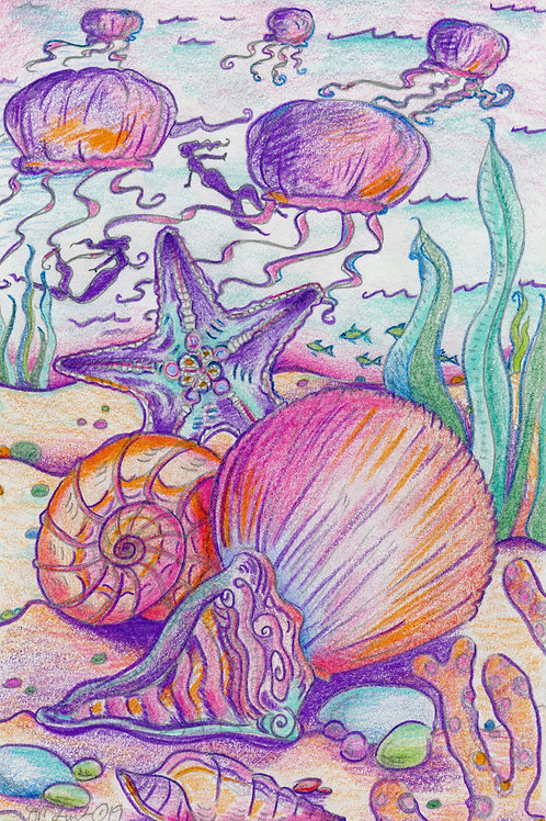 Ocean Scene with Merfolk Playing