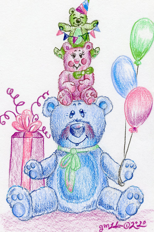 """Birthday Bears Family """"Grateful for Family"""" (Original or Fine Art Print)"""