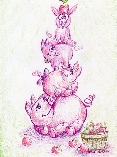 "Piggy Family ""You are doing a GREAT job"" (Original or Fine Art Print)"