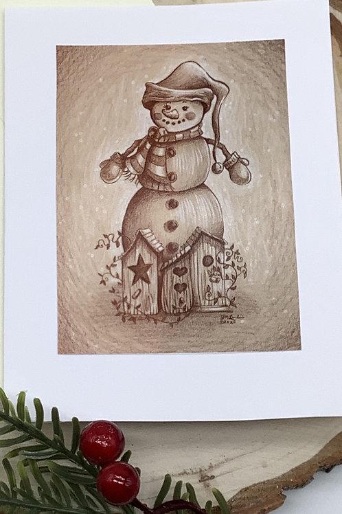 Christmas Card Set (Vintage Snowman, Penguin, Colorful Snowman)