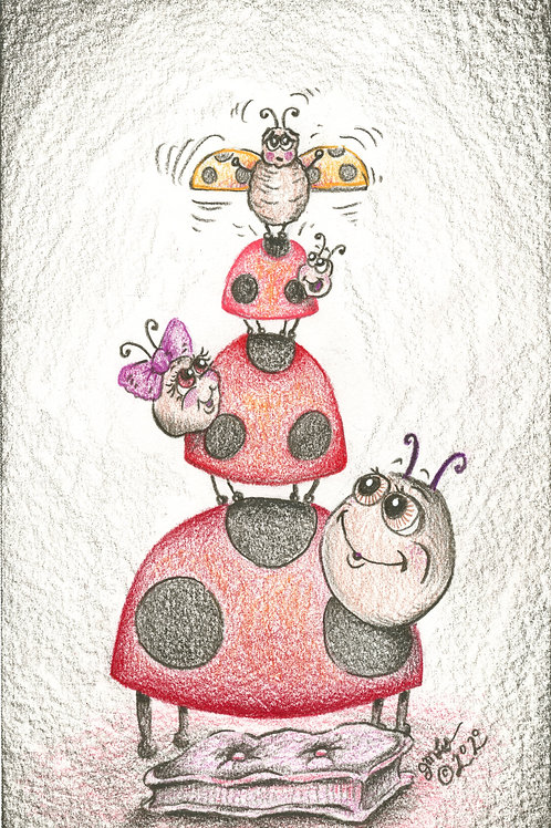 """Lady Bug Family:  """"You can do it"""" (Original or Fine Art Print)"""