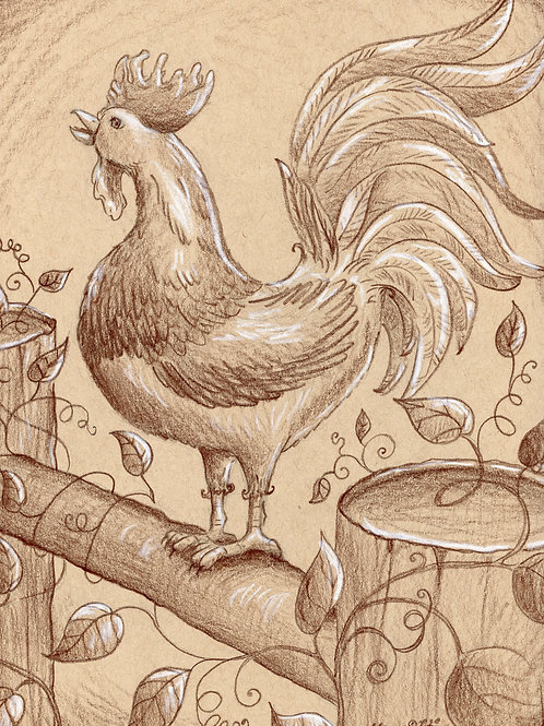Countryside Rooster (Original or Fine Art Print)