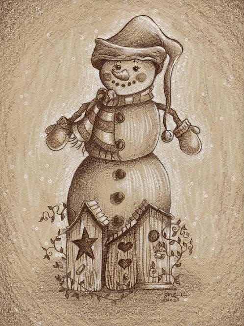 Vintage Snowman and Birdhouses
