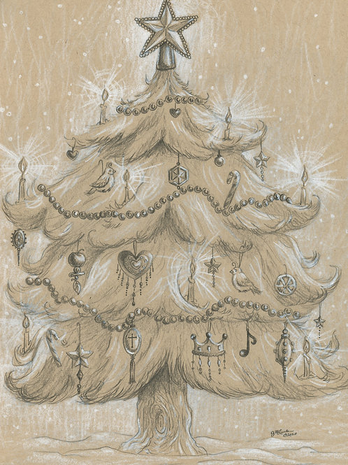 Vintage Christmas Tree (Original or Fine Art Print)
