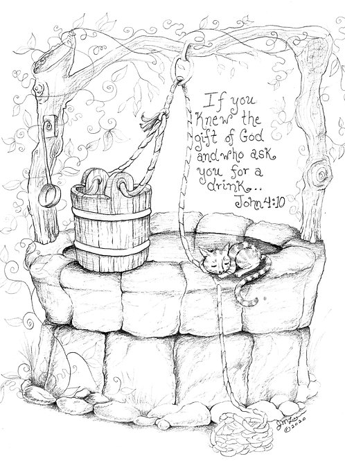 Woman at the Well (Coloring Page)