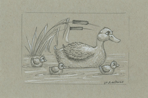 Countryside Duck and Ducklings, Fine Art Print