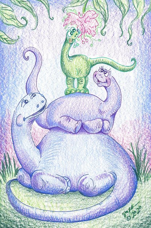 Dino Family: Working Together (Original or Fine Art Print)