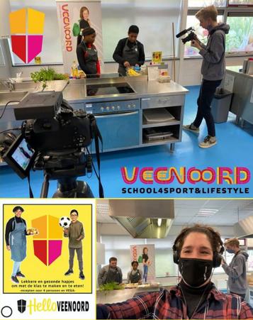Opnames voor kookvideo's op Veenoord middelbare school
