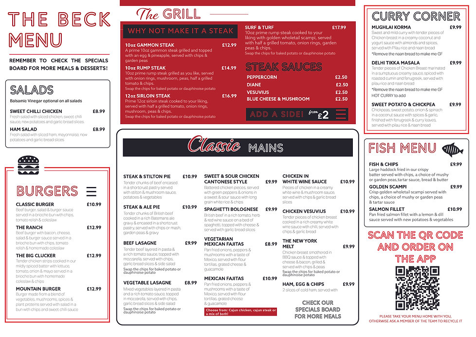 The Beck Mablethorpe, Summer Menu