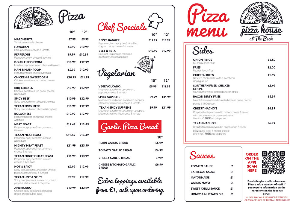 The Beck Mablethorpe, Pizza Menu