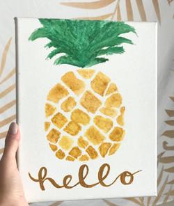 "watercolor pineapple ""hello"" canvas"