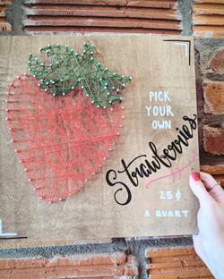 strawberry string art calligraphy
