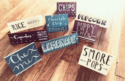 party food label signs calligraphy