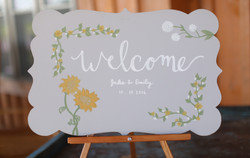 wedding welcome sign, sunflowers