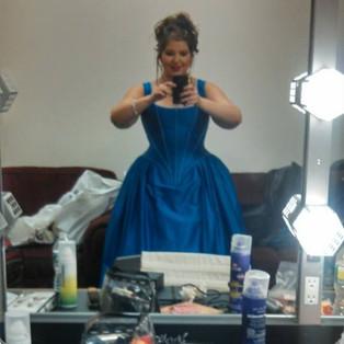 Lorraine Helvick backstage as Flora