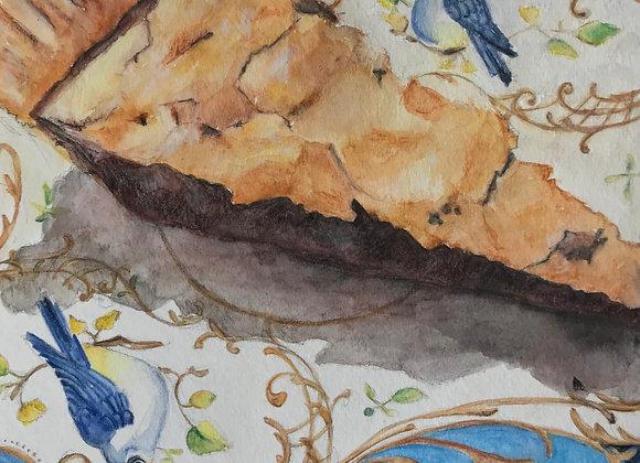 Walnut Chocolate Chip Pie, Original Art