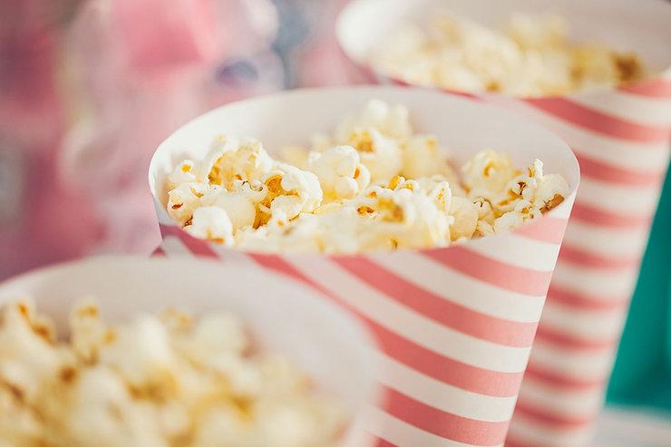 Popcorn in pink carton