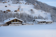 Alt Montafon Winter-Blick auf TalABFAHRT